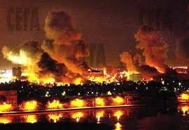 night image of the bombing of Baghdad
