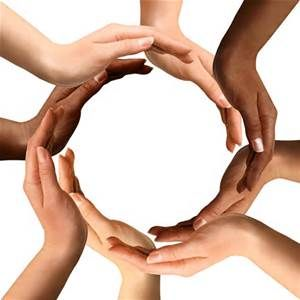 Black & white hands forming a circle of harmony